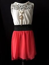 new girls black coral ivory lace chiffon party dress dipped with gold necklace