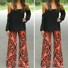 Sexy Women's Floral Wide Leg Long Stretch Pants Bohemian Loose Palazzo Trousers