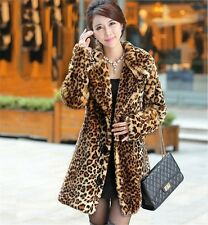 Women Warm New Winter Faux Fur Coat Warm Slim Long  Leopard Coat Mink Fur Jacket