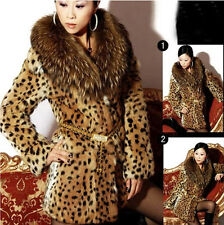 Womens Faux Fur Collar Clothing Sex Ladies Leopard Winter Warm Soft Trench Coats