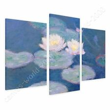 CANVAS +GIFT Water Lilies Claude Monet 3 Panels Wall Art Pictures Prints