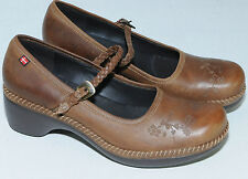 ECCO Mary Jane Clogs Brown Leather Wedge Strap Womens Size 40 Euro 9/9.5 US