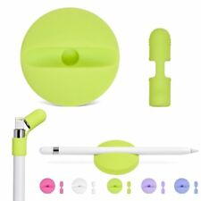Silicone Charging Cradle Stand + Cap Holder Keeper Leash For Apple iPad Pencil