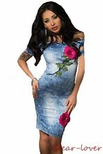 Denim Blue Sexy Rose Embroidered Print Off Shoulder Women Club Party Midi Dress