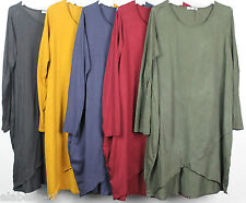 NEW LADIES LONG SLEEVE LAGENLOOK BOHO QUIRKY SCOOP NECK COTTON TUNIC TOP
