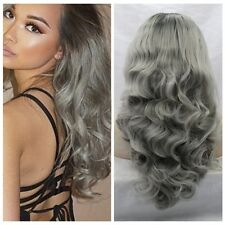 LOLITA OMBRE Wigs Girls Long Curly Wave Natural Wig Ombre Grey black Cosplay Wig