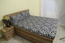 "New Organic Cotton 4 PCs/6 PCs Bed Sheet Set 1000 TC Drop 15"" Zebra Print"