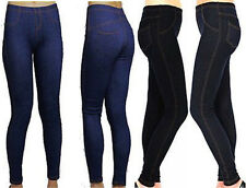 Ladies Plus Size Jeggings Stretch Denim Look Womens Leggings Jeans Size 16-26