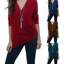 Sexy Women Casual Blouse V-Neck Long Sleeve Cotton Blend T-Shirt Loose Tops S-XL