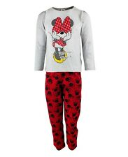 NEW Girls Official Disney Minnie Mouse Grey & Red Cute 2 Piece Long Pyjama Set