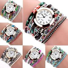 Women Rivet Pretty Crystal Gemstone Flower Leather Bracelet Quartz Wrist Watch