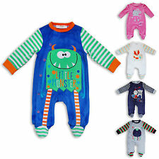 Cute Newborn Baby Boys Girls Unisex Velour Sleepsuit Super Soft Romper Babygrow