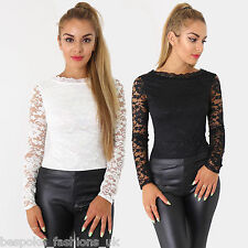 Ladies Womens Sexy Long Sleeve Floral LACE LINED Leotard Bodysuit Party Top 8-14