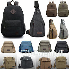 Vintage Mens Canvas Backpack Rucksack Satchel Travel Camping School Shoulder Bag
