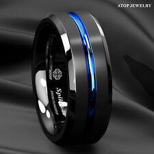 8mm Tungsten Carbide Ring Black Brushed Blue Stripe Wedding Band Men's Jewelry