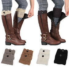 New Women Girl Winter Leg Warmers Button Crochet Knit Boot Socks Toppers Cuff