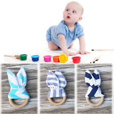 Wooden Safety Natural Baby Teething Ring Chewie Teether Cute Bunny Sensory Toy