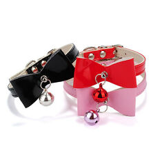 PU Leather Bowknot Bell Cat Dog Necklace Puppy Collar Pet Supplies Sales Well