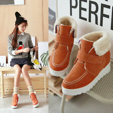 Womens Faux Suede Ankle Boots Winter Warm Lining Platform Heel Snow Casual Shoes