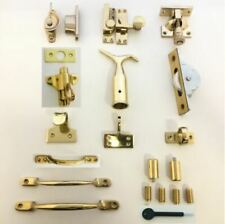 Solid Polished Brass Sash Window Fittings -Fasteners/Catch/Pole Hook/Pulley/Lift