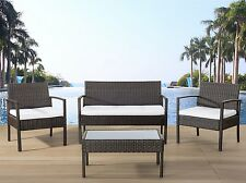 Garden furniture set, brown wicker sofa 2 chairs table outdoor patio deck