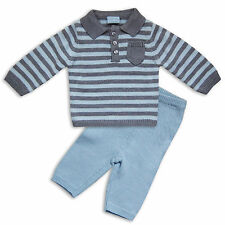 Baby Boys Knitwear 2PC Set Collared Jumper Sweater Bottoms Striped Baby Blue