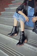 Chic Women Ankle Boots Punk Buckle Strap Lace Up Block Round Jockey Boots Shoes