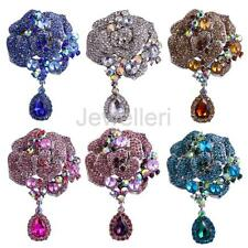 Metal Large Flower Bridal Brooch Rhinestone Crystal Teardrop Wedding Broach Pin