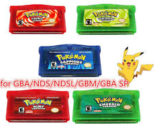 5pcs Pokemon Fan Advance Gameboy Cartridge Game Card For NDSL/GBC/GBM/GBA/SP