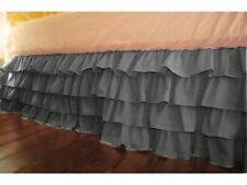 """Home Fashion Ruffle Bed Skirt Dark Grey Solid Drop 8 To 20"""" Egyptian Cotton"""
