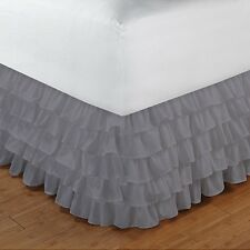 """Home Fashion Ruffle Bed Skirt Light Grey Solid Drop 8 To 20"""" Egyptian Cotton"""