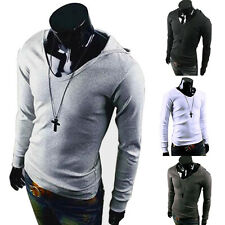 New Mens Long Sleeve T-shirt Hooded Stylish Tees Solid Tops Casual Blouse 4color