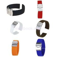 16-24mm Waterproof Silicone Rubber Wrist Watch Strap Band Replacement
