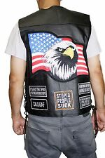 Men's Genuine Soft Leather USA Flag Patch Vest Jacket Style-USA Patch
