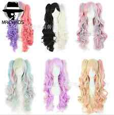 Cosplay Hair Wig 8 Colors 75cm Long Split Lolita Clip On Ponytails Curly Wavy