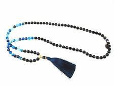 Yoga Blue agate and Onyxl Natural Stone Bead Long Navy blue TASSEL NECKLACE 42 ""