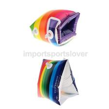 New Rainbow Inflatable Swimming Rollup Arm Bands Ring Float Tube Armlet