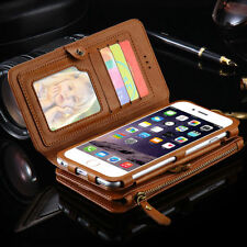 Luxury Flip Leather Zipper Wallet Cards Case Cover For Apple iPhone 6 6S 7 Plus