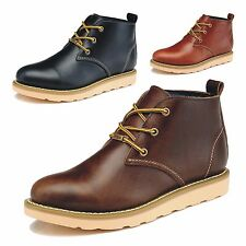 Fashion Mens Genuine Leather Work Boots Goodyear Welt Construction Dress Shoes