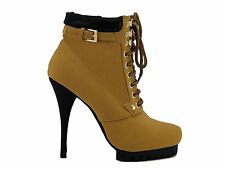 Tan Camel Lace Up Booties High Heel Platform Ankle Boot Almond Toe Shoes