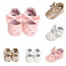 Toddler Girl Crib Shoes  0-18M Baby Bowknot Soft Sole Walking Prewalker Sneakers