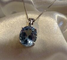 6 Ct Sky Blue Topaz  Solitaire Pendant & Chain In Sterling Silver