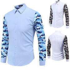 New Mens Trendy Slim Fit Camouflage Splicing Long Sleeve Shirt Casual Shirts Top