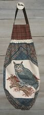 Horned Owl Vintage Plastic Grocery Bag Rag Sock Holder Organizer Handmade HCF&D
