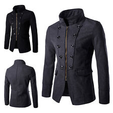 Winter Mens Fashion Court Style Casual Slim Fit Double Breasted Coat Jacket