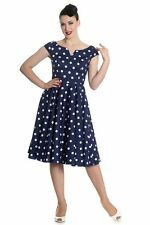Brand New Gorgeous Retro 1950s Style Navy Polka Dot Swing Dress Rockabilly