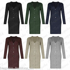 Ladies Women's Long Sleeve Knitted Ribbed Button Midi Cardigan Jumper Top 8-16