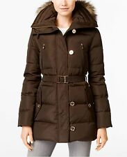 MICHAEL Michael Kors Women Button Hooded Belted 3/4 Down Faux Fur Bark Brown