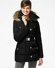 MICHAEL Michael Kors Women Hooded Belted 3/4 Down Faux Fur Black Jacket Coat