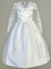 Girls White First Communion Dress Satin Organza Long Sleeves Tea Length Sz 5-14